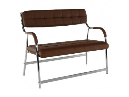 2-místná lavice do čekárny, hnědá / chrom, ILKIN