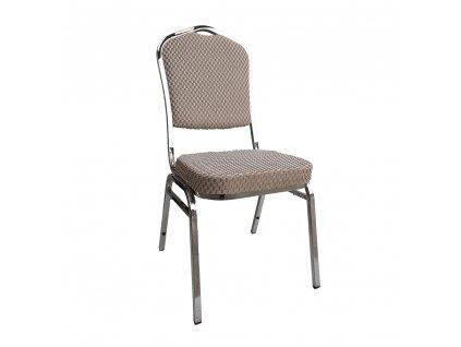 Stohovatelná židle, béžová/vzor/chrom, ZINA 3 NEW