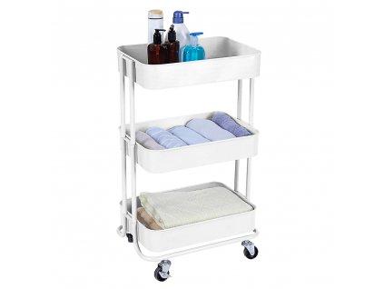 3-patrový vozík, bílá, RUDIN