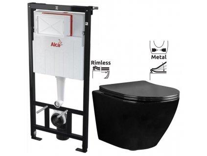 ALCAPLAST Sádromodul - předstěnový instalační systém bez tlačítka + WC REA CARLO MINI RIMFLESS ČERNÁ + SEDÁTKO AM101/1120 X CL1
