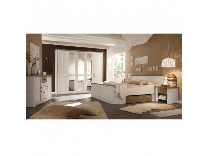 Ložnicový komplet (postel, 2 noční stolky, skříň), pinie bílá / dub sonoma truflový, LUMERA