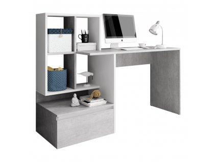 PC stůl, beton/bílý mat, NEREO