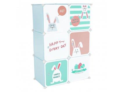 Dětská modulární skříňka, modrá/dětský vzor, EDRIN
