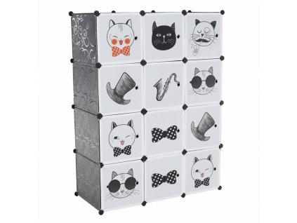 Dětská modulární skříň, šedá/dětský vzor, AVERON