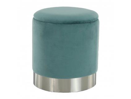 Taburet, zelená-mentol Velvet látka/stříbrná chrom, Daron