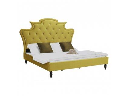 Luxusní postel, zlatá Velvet látka, 180x200, REINA