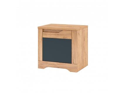 Noční stolek, dub craft zlatý/grafit šedá, pravá, FIDEL X2