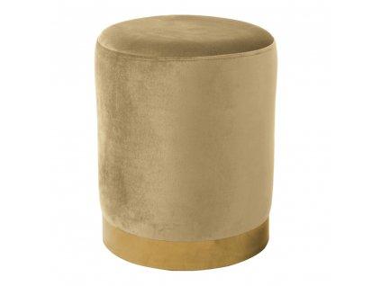 Taburet, béžová Velvet látka/gold chrom-zlatá, ALAZ