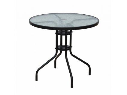 Jídelní stůl vhodný, černá ocel / temperované sklo, BORGEN TYP 2