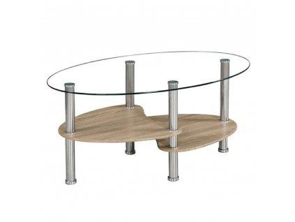 Konferenční stolek, ocel/čiré sklo/dub sonoma, PANTY NEW