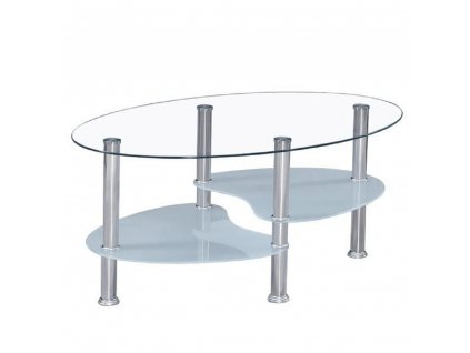 Konferenční stolek, ocel/sklo, WAVE NEW