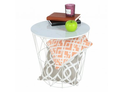 Příruční stolek, mramor/bílá, ENPLO
