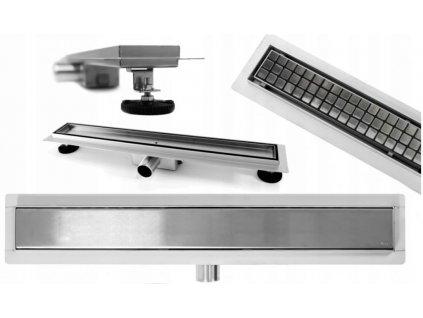REA - Lineární odtokový žlab + sifon + nožičky + rošt Neo Pure 500 N