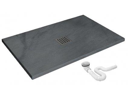 REA - Kamenná sprchová vanička Rock šedá 80x120