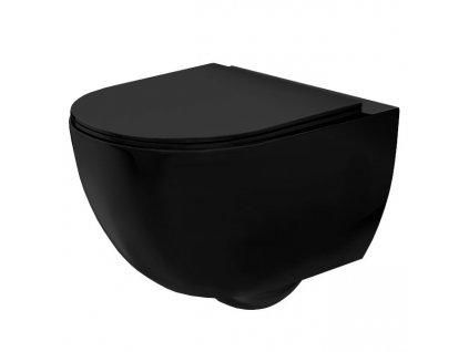 REA - Závěsná WC mísa Carlo Mini Slim matně černá