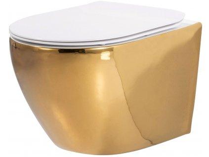 REA - Závěsná WC mísa Carlo Flat Mini zlatobílá