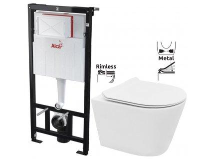 ALCAPLAST Sádromodul - předstěnový instalační systém bez tlačítka + WC REA TOMAS RIMFLESS + SEDÁTKO AM101/1120 X TO1