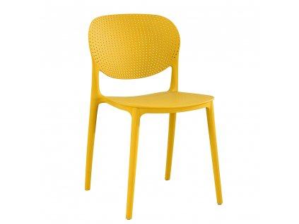 Stohovatelná židle, žlutá, FEDRA new