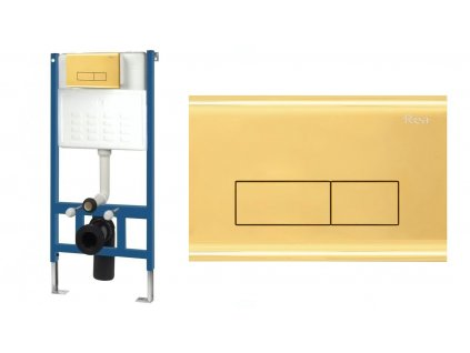 REA - Rám pro skryté WC mísy s tlačítkem H jemně zlatý