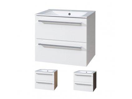 Bino koupelnová skříňka s keramickým umyvadlem 60 cm Bino koupelnová skříňka s keramickým umyvadlem 60 cm, spodní,  bílá/dub, 2 zásuvky