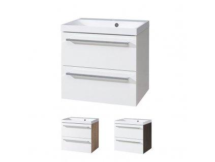 Bino koupelnová skříňka s umyvadlem z litého mramoru 60 cm Bino koupelnová skříňka s  umyvadlem z  litého mramoru,  bílá/dub, 2 zásuvky