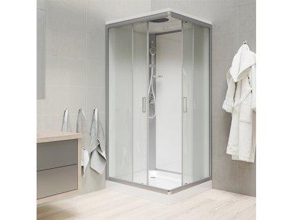 Sprchový box, čtvercový, 90 cm, satin ALU, sklo Point, zadní stěny bílé Sprchový box, čtvercový, 90 cm, satin ALU, sklo Point, zadní stěny bílé, litá vanička, se stříškou