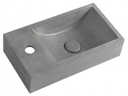 CREST L betonové umyvadlo včetně výpusti, 40x22 cm, černý granit