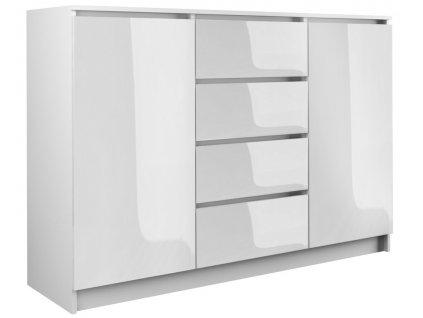 Komoda 2D4S, bílá lesk, 120 cm