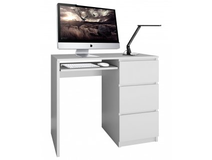 PC stůl, bílá, LIMA pravá