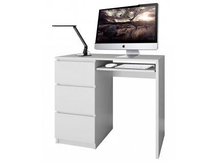 PC stůl, bílá, LIMA, levá