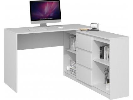 Psací stůl s komodou, PLUS 2D3S, bílá