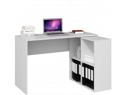 Psací stůl s regálem, bílá, PLUS MALAX 2X2