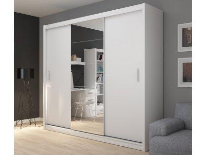 Šatní skříň, bílá, LUSTRO 235 cm