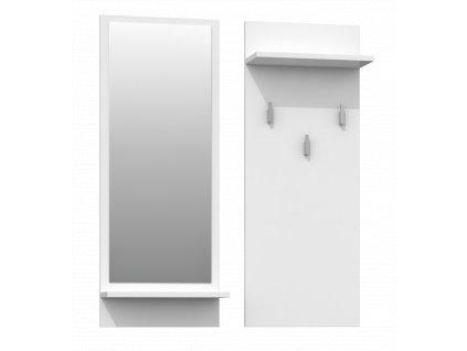 Věšák a zrcadlo, bílá, RIVA