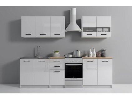 Kuchyňská linka, bílá lesk 200 cm