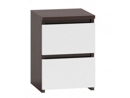 Noční stolek, wenge/bílá, MALWA M2