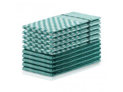 Sada kuchyňských utěrek, Check&Art tmavě zelená - 10 ks 50x70 cm