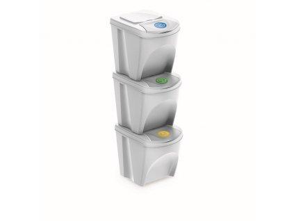 Sada 3 odpadkových košů SORTIBOX III bílá, objem 3x25L