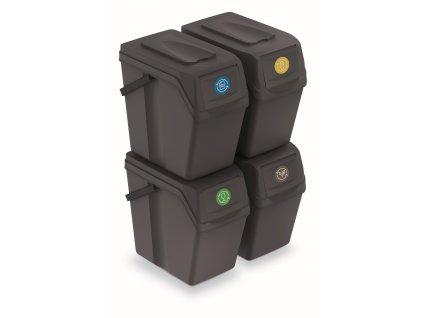 Sada 4 odpadkových košů SORTIBOX II antracit, objem 4x25L