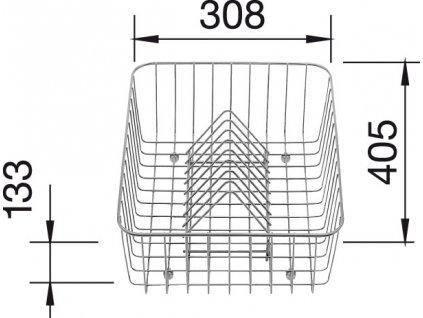 Koš na nádobí nerez pro CLASSIC 405x308x133