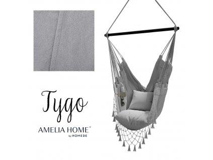 Závěsné houpací křeslo Tygo světle šedé, 100x130 cm