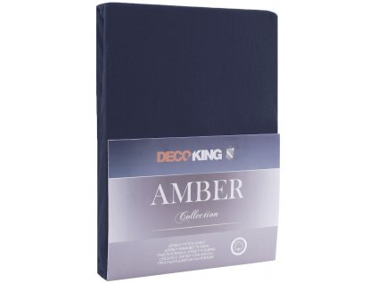 Bavlněné jersey prostěradlo Amber, tmavě modrá