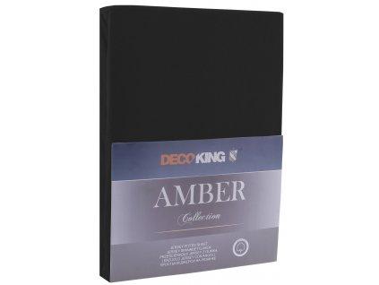 Bavlněné jersey prostěradlo Amber, černá