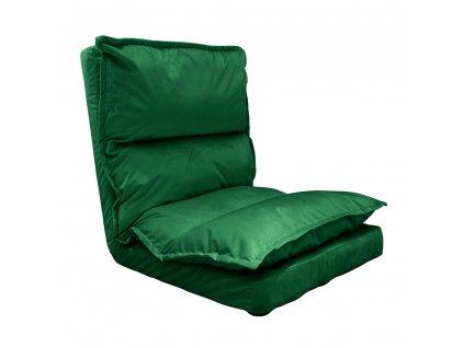 Skládací lenoška na podlahu, Velvet látka zelená, ULIMA