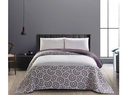 Přehoz na postel jelen a kruhy ocelově šedá, 170x270