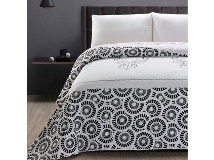 Přehoz na postel jelen a kruhy bílá/černá, 170x210