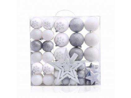 Sada vánočních ozdob LUX - stříbrná a bílá - 76 kusů