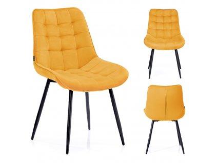 Židle Algate hořčicová žlutá, sada 4 ks