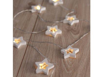 Světelný dekorativní řetěz, dřevěné hvězdičky 10LED