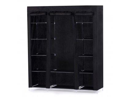 Látková šatní skříň Bloor černá 175x150x45 cm